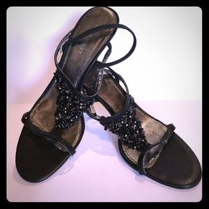 Nine West black strappy heels with black beading